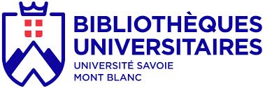 Logo bleu foncé et rouge de la bibliothèque universitaire de l'université de Savoie Mont Blanc